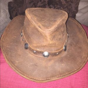 Outback genuine leather hat size large EUC
